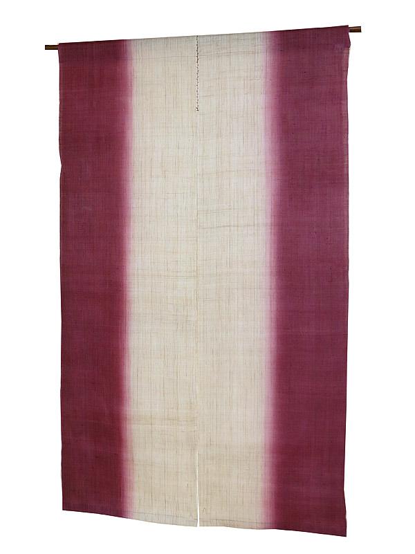 麻 のれん:縦染京紫色(手織り本麻暖簾)(生平麻) のれん棒別売り
