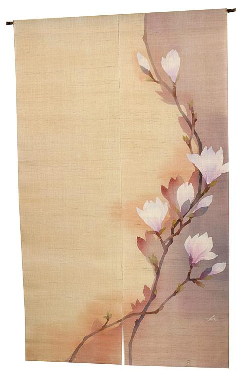のれん 麻・早春(受注製作 暖簾)(手織り本麻モダンのれん/ろうけつ染のれん) のれん棒別売り