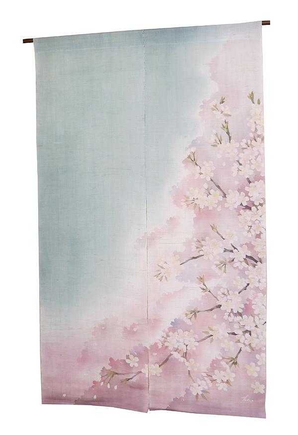 麻 桜 のれん ・桜吹雪(和風モダン のれん 暖簾)ろうけつ染 のれん/受注制作