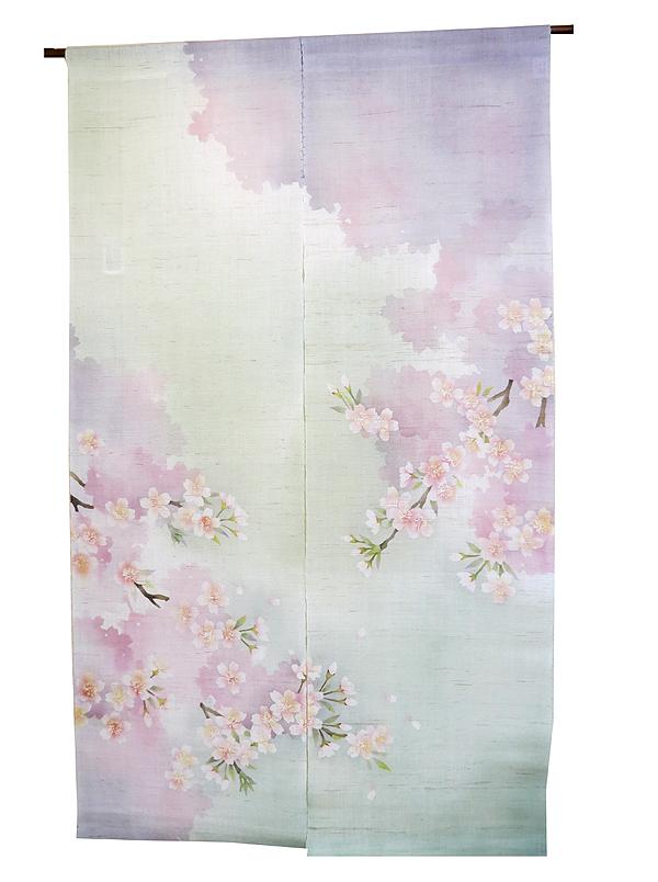 麻 桜 のれん ・さくらさくら(和風モダン のれん 暖簾)ろうけつ染 のれん