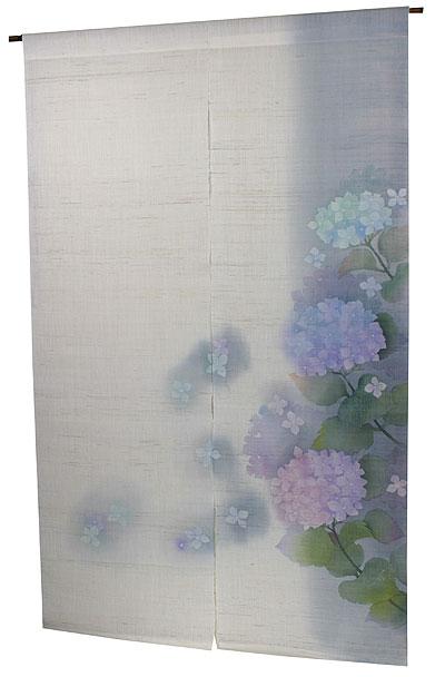 のれん・紫陽花1(手織り麻モダンのれん)(受注製作) のれん棒別売り/夏のれん