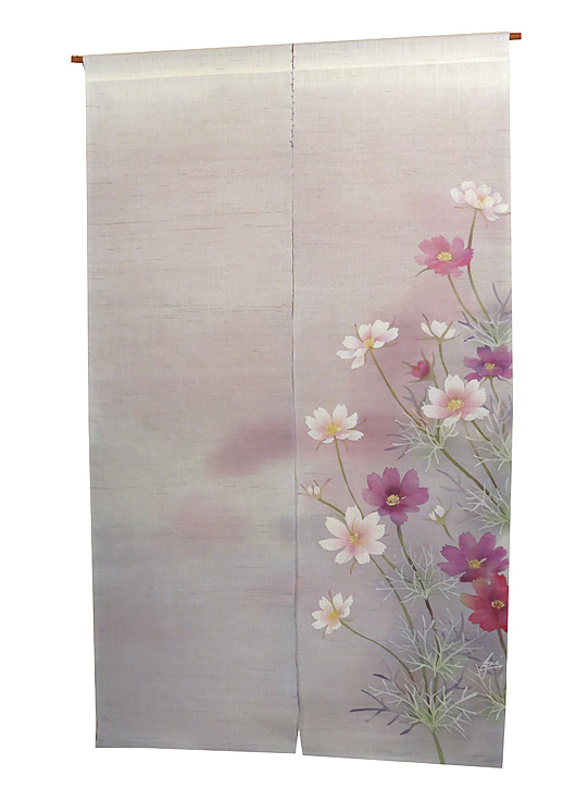 新作麻のれん・秋桜(手織り麻モダンのれん)受注製作 のれん棒別売り