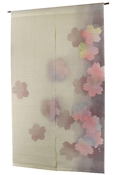 のれん 桜・舞桜(手織り麻モダンのれん)(受注製作) のれん棒別売り