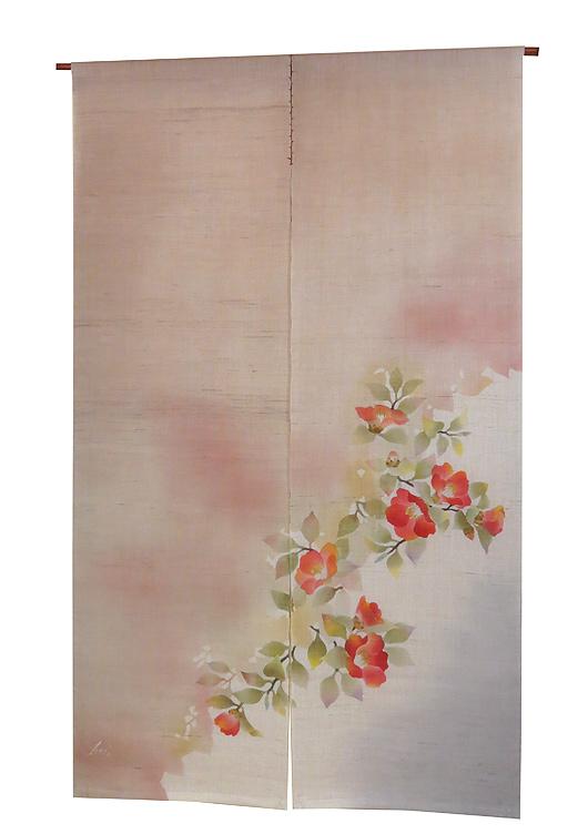 のれん 麻和風・紅椿(手織り麻モダンのれん) / 冬 のれん/受注製作