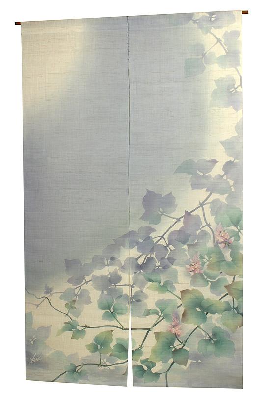 新作麻のれん・月灯り(手織り麻モダンのれん)(受注製作) のれん棒別売り