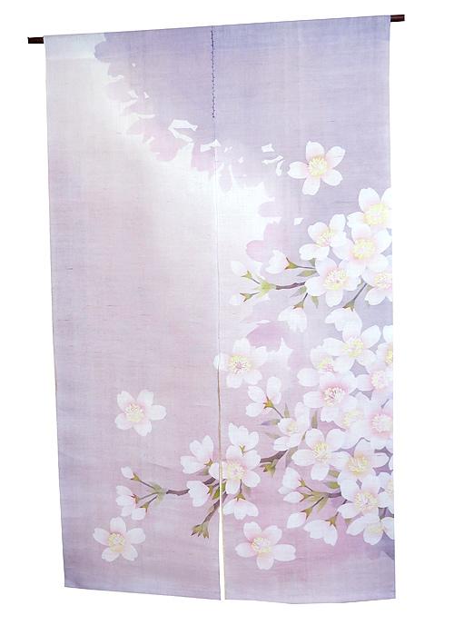 麻のれん・桜の花(和風モダン 桜 のれん)受注製作