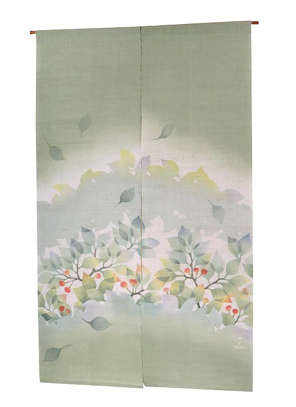麻のれん・桜の初夏(手織り麻モダンのれん)(受注製作) のれん棒別売り