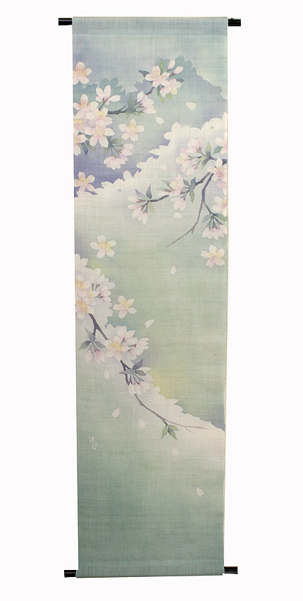 桜タペストリー・春山の桜受注製作 / 和モダン