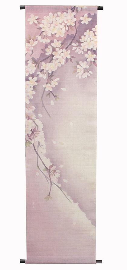 桜タペストリー・桜色受注製作 タペストリー棒付 ろーけつ染めタペストリー / 和モダン