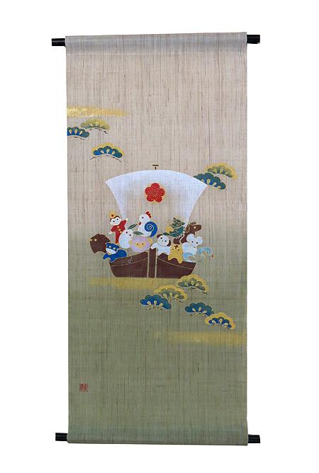 迎春タペストリー・干支宝船(お正月飾り) (金彩タペストリー)