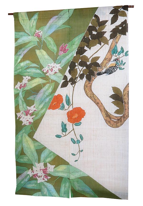 ローケツ染めのれん:景年花鳥図より茶花とのうぜんかずら(一品物・再製作不可・棒は付属していません)