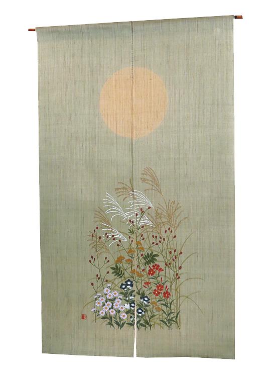 和風 のれん 麻・秋七草(暖簾)/受注製作