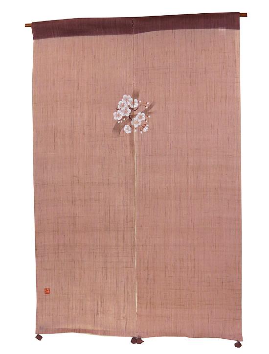 和風風音暖簾(のれん):桜 / 麻のれん