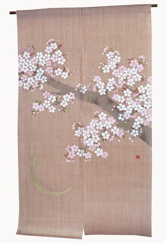 和風 桜 暖簾(のれん)・月夜の桜