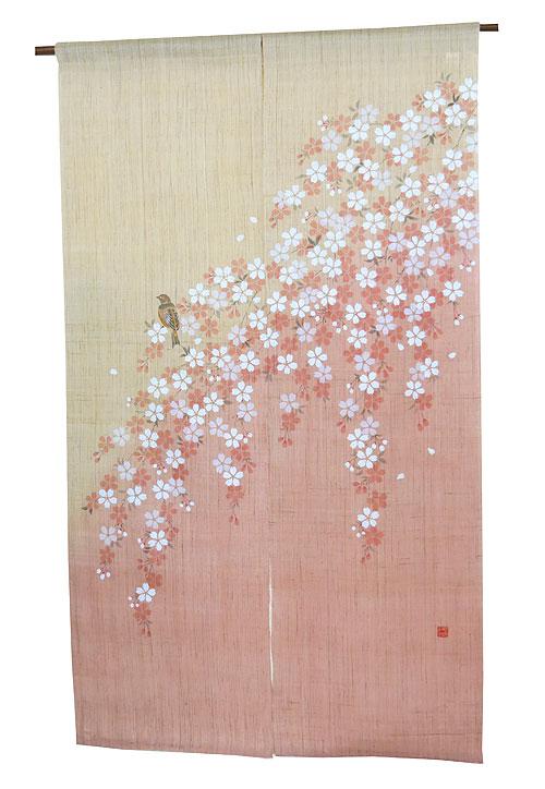和風 桜 暖簾(のれん)・桜に四十雀/ 京都 洛柿庵