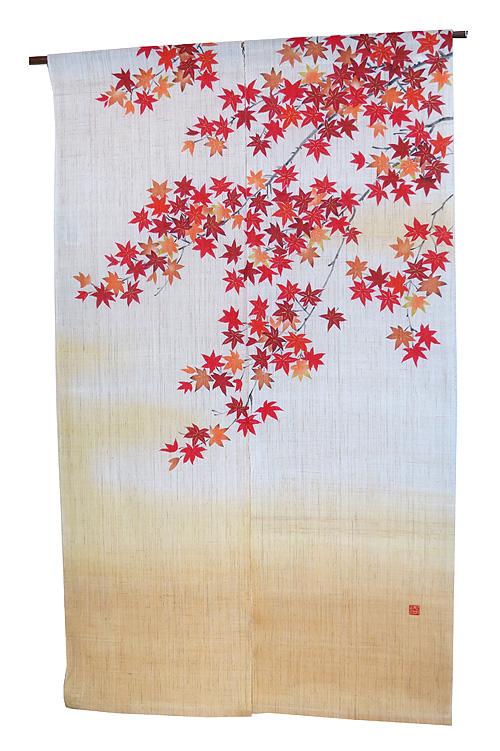 のれん 麻 和風・紅葉の宴(暖簾) / 秋 のれん