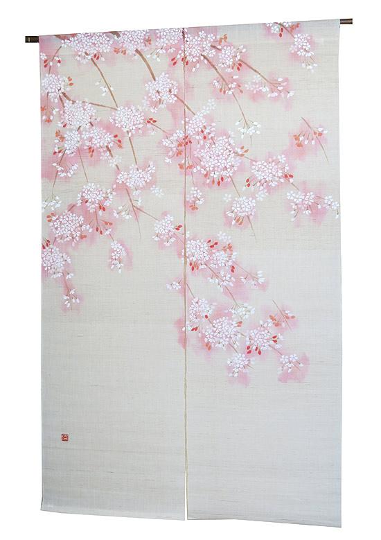 和風 桜 暖簾(麻のれん)・淡紅桜【送料無料】/ 京都 洛柿庵