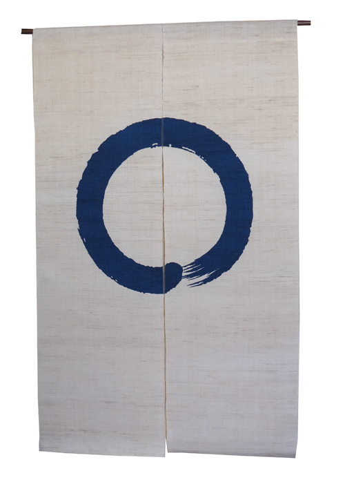 和風 暖簾(のれん):円相紋紺藍/ 京都 洛柿庵