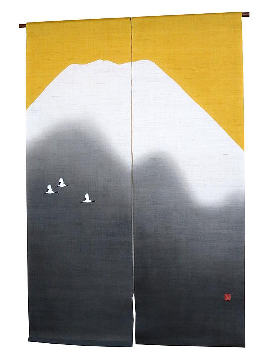 和風 のれん(麻暖簾)・黄金富士/お正月 のれん/ 京都 洛柿庵