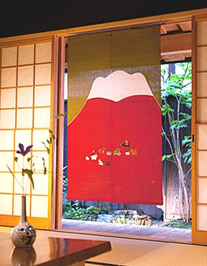 和風のれん(麻暖簾)・赤富士十二支 のれん棒別売り