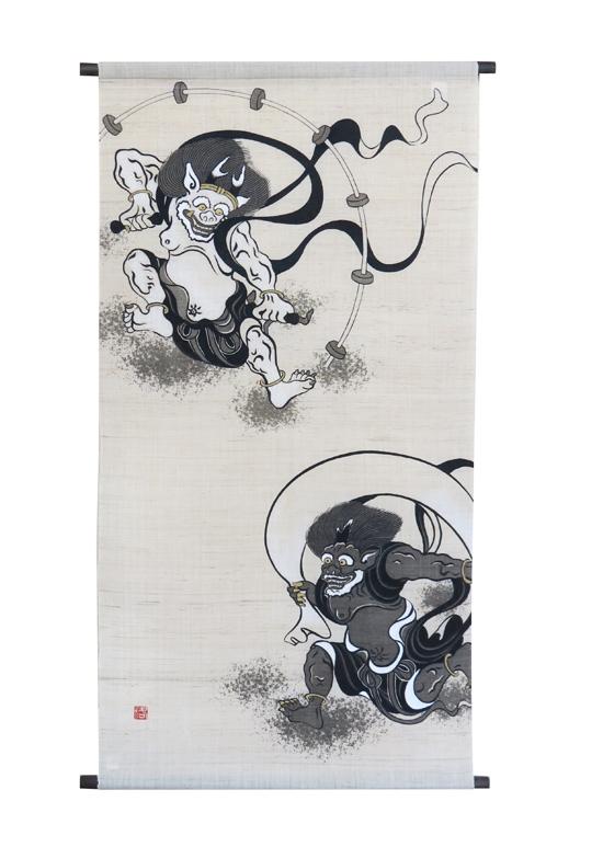 和風大判タペストリー・風神雷神(和風モダンタペストリー)/ 京都 洛柿庵