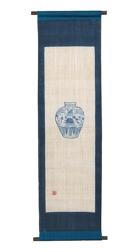 手描きタペストリー・うつわ 壺 (和風モダンタペストリー)タペストリー棒付
