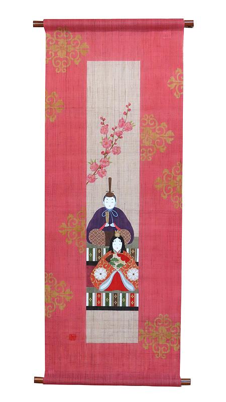 和風タペストリー・短冊桃雛(ひな祭り)/ 和モダン タペストリー/メーカー取り寄せ
