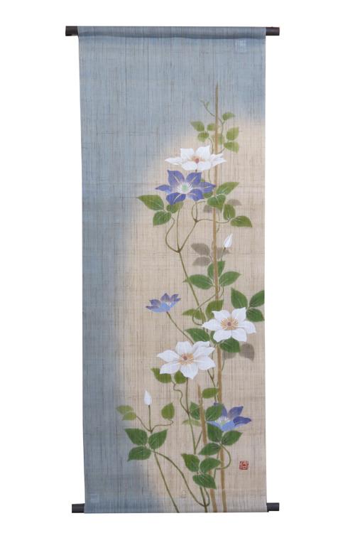 和風タペストリー・紫白鉄仙 (和モダン)(夏 タペストリー)