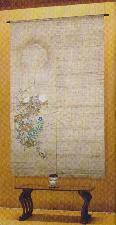 のれん 和風暖簾:秋草に月/手描き麻暖簾
