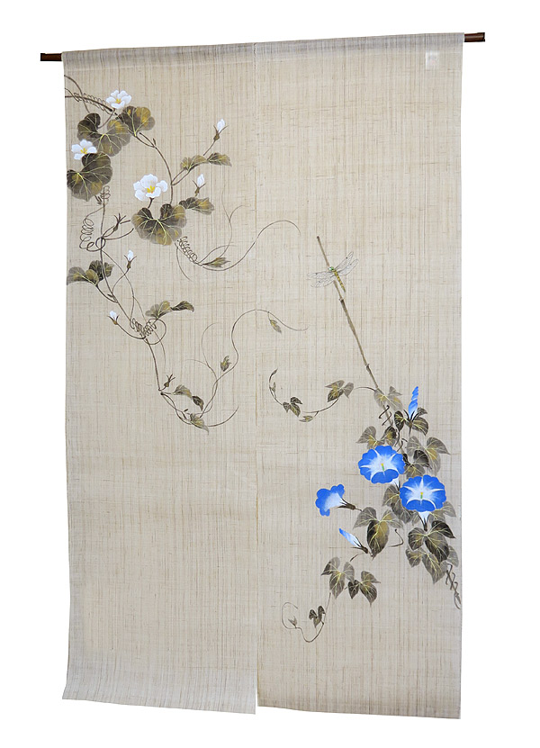 江戸琳派手描きのれん 和風暖簾:朝顔夕顔図