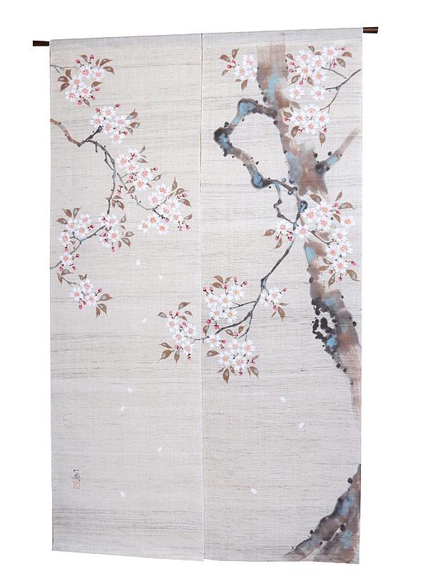 江戸琳派手描きのれん 和風暖簾:桜図