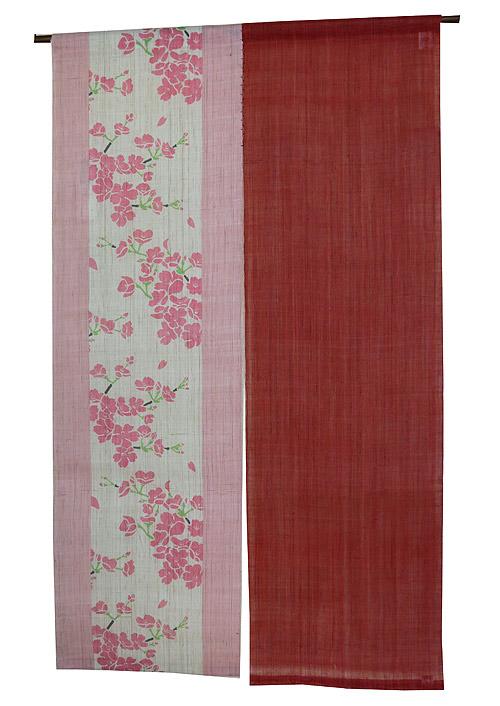 のれん 和風暖簾:桜 のれん棒別売り