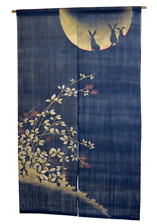 のれん 和風:秋月うさぎ/メーカー取り寄せ品