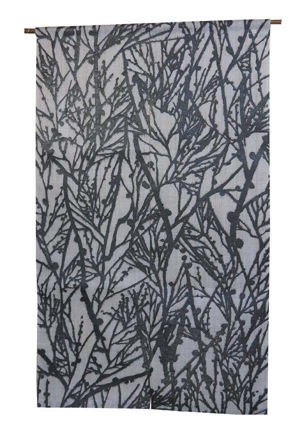 和紙紋染め のれん:ふぶきグレー(黒和紙)