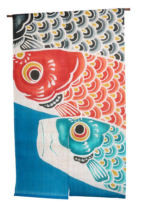型染 のれん 和風暖簾:青空鯉/メーカー取り寄せ品