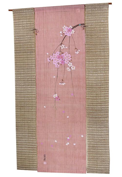 麻のれん のれん 3連暖簾・桜(和風麻暖簾)京都万葉舎のれん 引き染め/手描きのれん