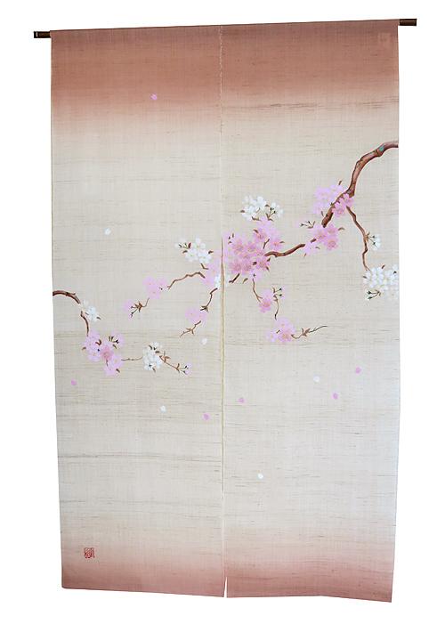 手描き桜のれん:枝桜(麻暖簾)