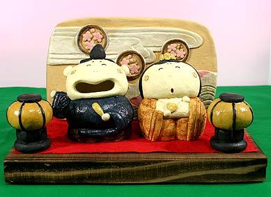 雛人形 ひな祭り /頼りない雛セット(陶雛人形)【親王飾り】