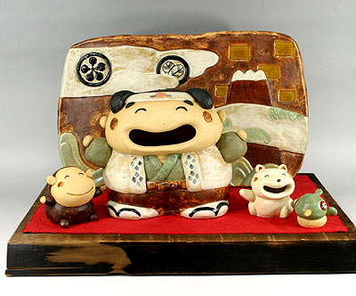 端午の節句 五月人形 節句人形・へらへら桃太郎セット(五月人形) (敷き台は黒塗台となります)