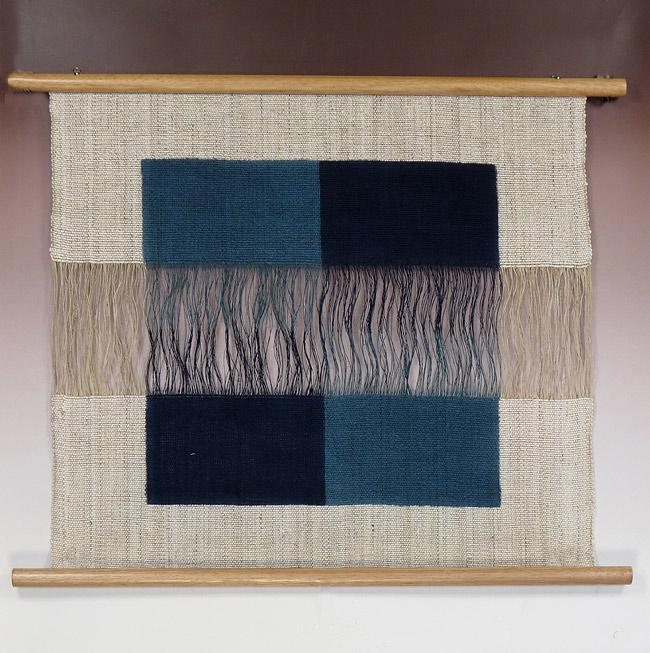 本麻タペストリー:ほぐし織 二重奏藍