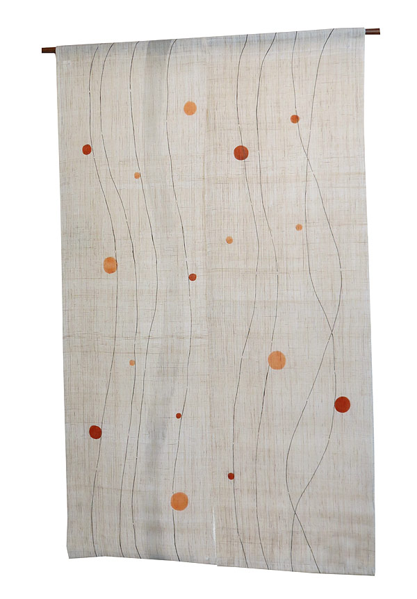 暖簾 麻 ( のれん ):ふわり橙(手織り本麻モダン のれん)