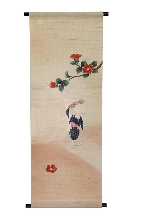 麻タペストリー:大原女に椿(受注製作)