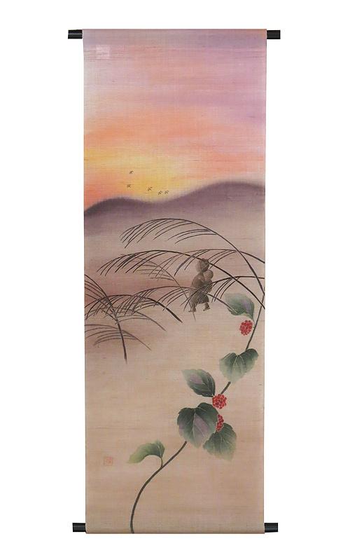 京友禅麻タペストリー:赤とんぼ /秋 タペストリー  受注製作 タペストリー棒付