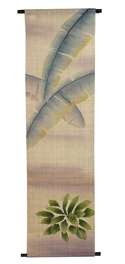タペストリー・芭蕉の葉と蛙■受注製作(夏 タペストリー)