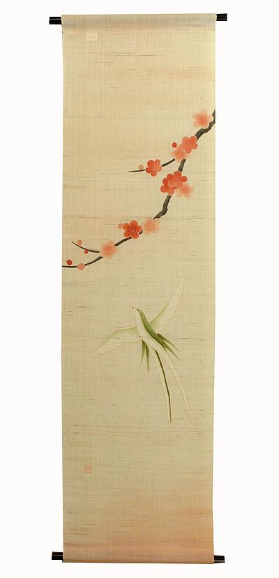 麻タペストリー:紅梅に鳥(受注製作)