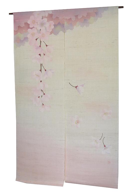 麻 桜 のれん:花しょうよう(桜)受注製作