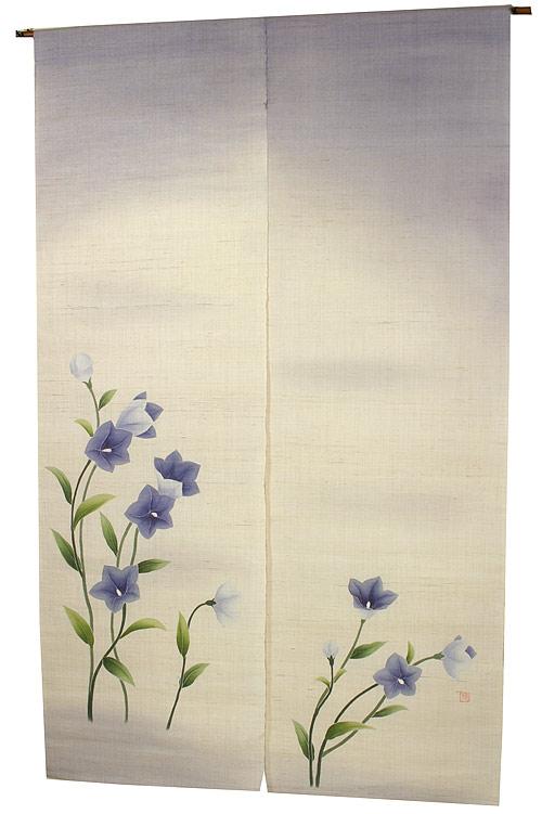 のれん・桔梗/手織り麻使用和風暖簾(受注製作) / 秋 のれん
