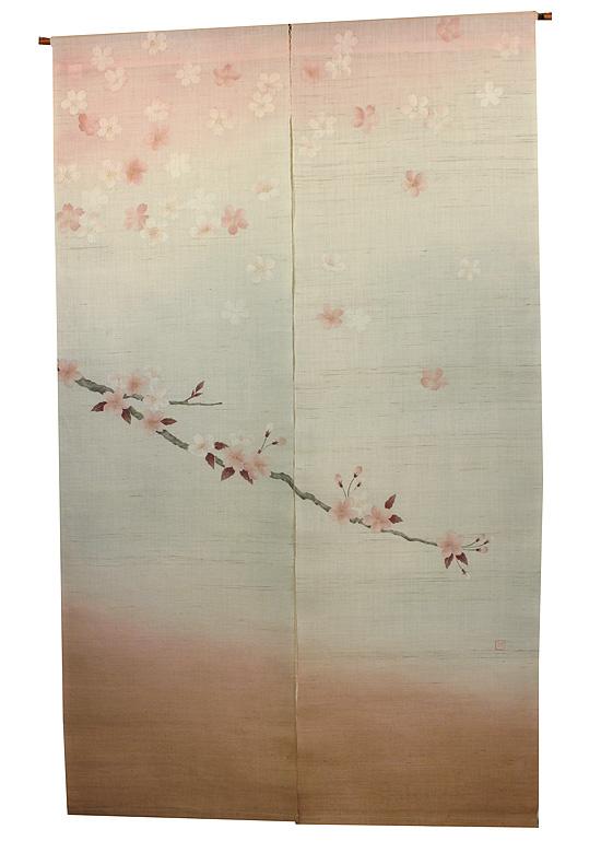 京都手描き友禅 のれん・タペストリー 麻 桜 のれん:春日(桜)受注製作