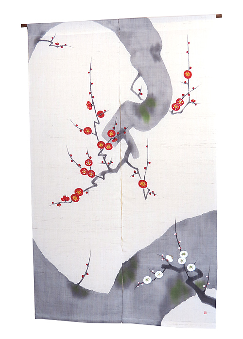 羅工房暖簾(麻のれん)・龍枝梅 (受注製作3週間)