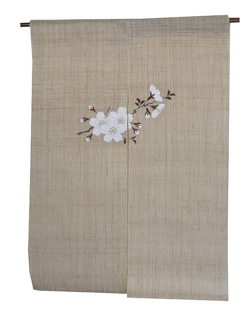 羅工房 暖簾(麻のれん)・桜一枝 /受注製作